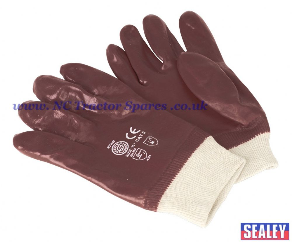 PVC Chemical Handling Gloves Knitted Wrist Pair